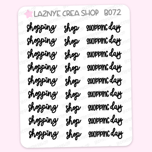 Shopping Script Stickers #B072