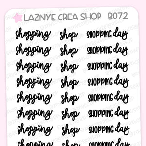 Shopping Script Planner Stickers, Shop Stickers, Shopping Day Stickers, Scrip Words, Lettering Planner Stickers, Font Stickers, Handwritting Planner Stickers, Bullet Journal Stickers