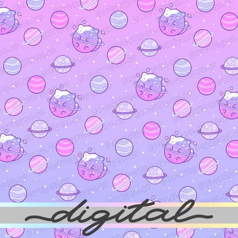 Printable Galaxy Digital Paper, Star, Cute, Cat, Paper Vellum, Doodle, Hand Draw, Cute, Bullet Journal, TN Vellum, JPG, PDF, Download