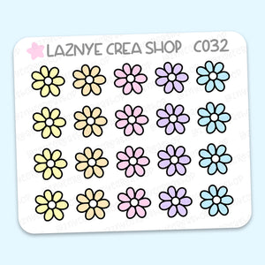 Flower Mini Stickers, Easter, Spring, Mini Sheet, 2$ stickers, Yume the Cat, Pastel Stickers, Functional Stickers, Planner Stickers, Hand Draw, Doodle