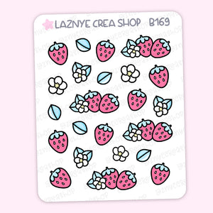 Strawberry Stickers Stickers, Strawberry Milk, Pastel Planner Stickers, Bullet Journal Stickers, Hand Draw Stickers, Doodle Stickers