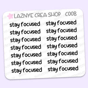 Stay Focused Script Stickers Mini Sheet, Work Stickers, Word Stickers, Job Stickers, Functional, Planner, Bullet Journal Stickers, Hand Draw Stickers, Doodle, Schedule
