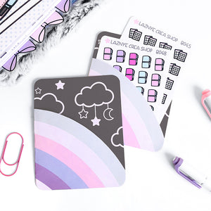 Pink Rainbow Sticker Pocket, Moon, Rainbow, Pink, Purple, Star, Cloud, Planner Pouch, Sticker Stach, Planner Pocket, Planner Die Cut, Pastel planner Pocket, Kawaii Paper Pocket