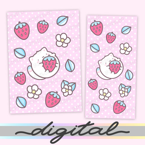 Printable Strawberry Cat Planner Dashboard, Strawberry Cow, Strawberry Milk, Cover Print Cover B6 A6 A5 Mini Happy Planner Pocket Personal Wide Hobonichi Micro TN Inserts PDF