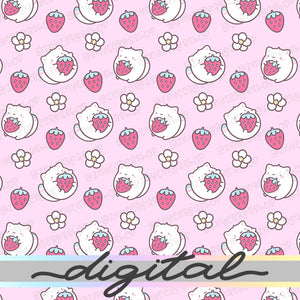 Stawberry Digital Planner Paper, Stawberry Milk, Strawberry Cow, Pastel, Cute Cat, Paper Vellum, Doodle, Hand Draw, Cute, JPG, PDF, Download
