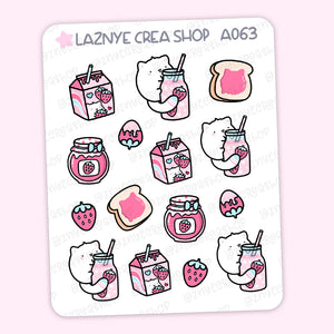 Strawberry Cat Stickers, Strawberry Milk, Strawberry Cow, Cute Planner Stickers, Planner Stickers, Bullet Journal Stickers, Hand Draw Stickers, Doodle Stickers