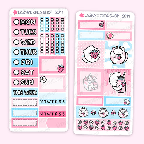 Strawberry Print Pression Weeks Stickers Kit, Strawberry Milk, Planner Stickers, Hand Draw Stickers, Doodle Stickers