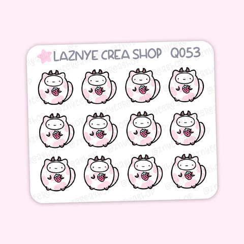 Strawberry Cat Mini Stickers, Strawberry Cow, Strawberry Milk, Mini Sheet, 2$ stickers, Yume the Cat, Pastel Stickers, Planner Stickers