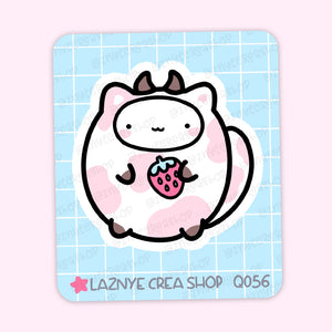 Strawberry Cat Maxi Sticker, Strawberry Milk, Strawberry Cow, 2$ stickers, Yume the Cat, Pastel Stickers, Planner Stickers