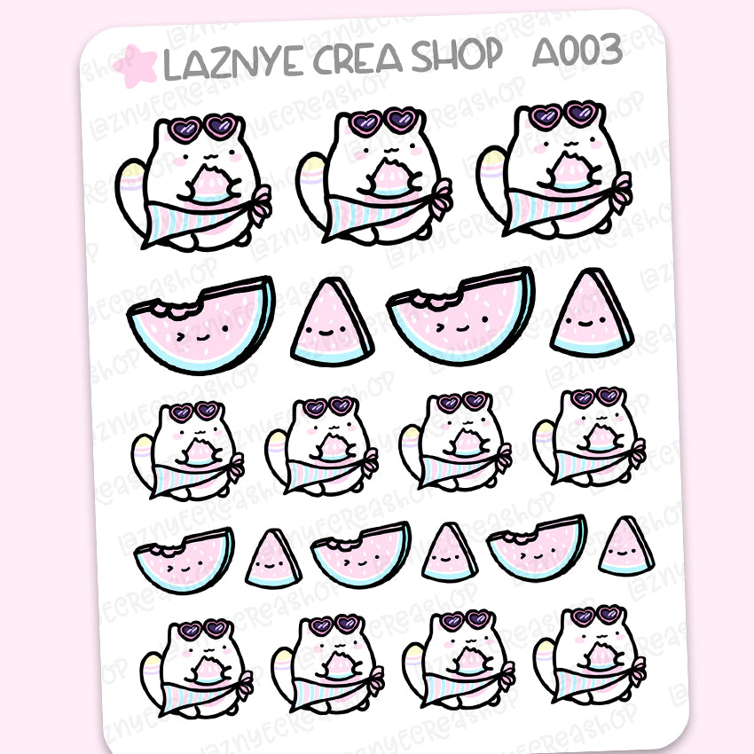 Watermelon Cat Summer Stickers, Pastel Stickers, Functional Stickers, Planner Stickers, Bullet Journal Stickers, Hand Draw Stickers, Doodle Stickers
