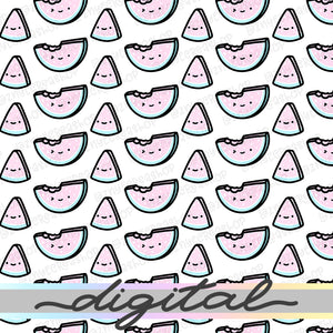 Printable Watermelon Summer Digital Paper, Planner Paper Vellum, Doodle, Hand Draw, Cute, Bullet Journal, TN Vellum, JPG, PDF, Download