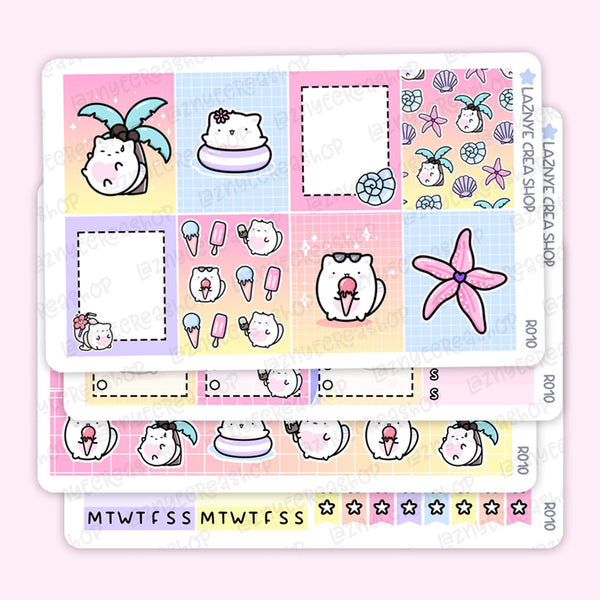 Summer Vertical Sticker Kit, Planner Stickers, Hand Draw Stickers, Doodle Stickers