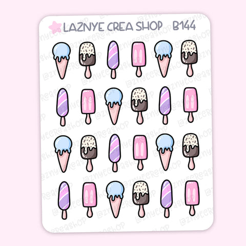 Ice Cream Summer Stickers, Bullet Journal Stickers, Hand Draw Stickers, Doodle Stickers