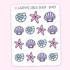 Sea Shell Summer Stickers, Bullet Journal Stickers, Hand Draw Stickers, Doodle Stickers