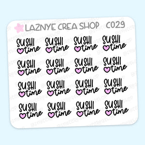 Sushi Time Mini Stickers, Japan Food, Script Stickers, Mini Sheet, 2$ stickers, Yume the Cat, Pastel Stickers, Functional Stickers, Planner Stickers, Hand Draw, Doodle