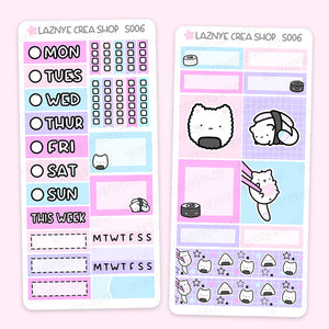 Sushis Print Pression Weeks Stickers Kit, Japan Food, Maki, Nigiri, Onigiri, Maguro Cat, Planner Stickers, Hand Draw Stickers, Doodle Stickers