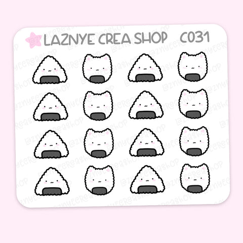 Onigiri Mini Stickers, Onigiri Cat, Japan Food, Mini Sheet, 2$ stickers, Yume the Cat, Pastel Stickers, Functional Stickers, Planner Stickers, Hand Draw, Doodle