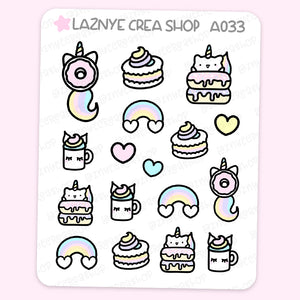 Unicorn Cat Stickers, Rainbow Stickers, Stars Stickers, Pastel Planner Stickers, Bullet Journal Stickers, Hand Draw Stickers, Doodle Stickers