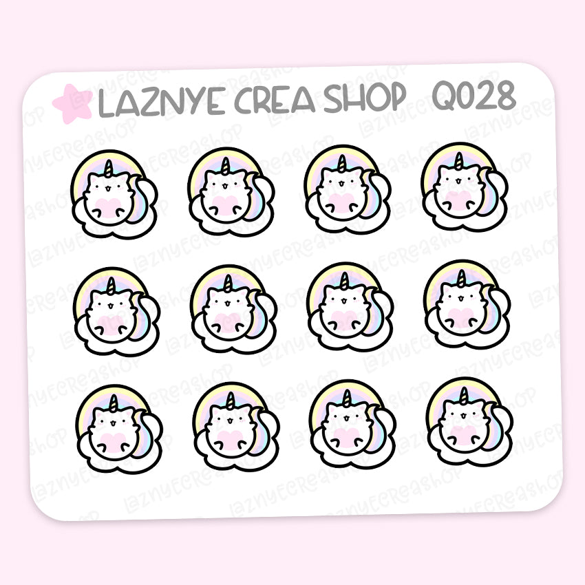 Unicorn Cat Mini Stickers, Rainbow Planner Stickers, Mini Sheet, 2$ stickers, Yume the Cat, Pastel Stickers, Planner Stickers, Bullet Journal Stickers, Hand Draw, Doodle
