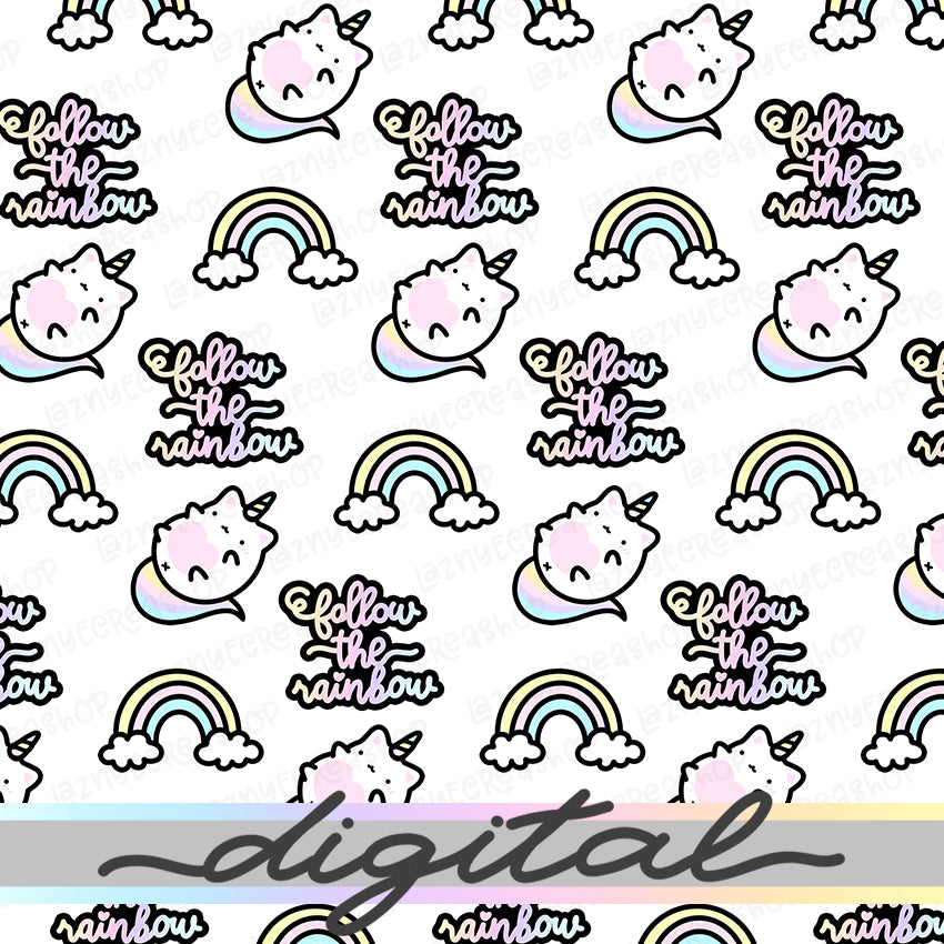 Unicorn Digital Planner Paper, Cloud, Rainbow, Unicorn, Cat, Pastel, Cute Cat Rainbow Vellum, Paper Vellum, Doodle, Hand Draw, Cute, JPG, PDF, Download