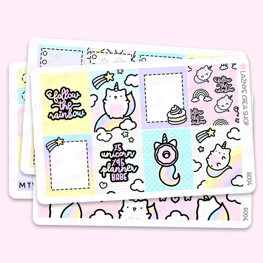 Unicorn Erin Condren Weekly Sticker Kit, Rainbow, Functional Stickers, Planner Stickers, Hand Draw Stickers, Doodle Stickers
