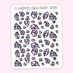 Crystal Washi Stickers, Gems, Minerals, Stones, Diamonds, Washi Stickers, Pastel Planner Stickers, Bullet Journal Stickers, Hand Draw Stickers, Doodle Stickers