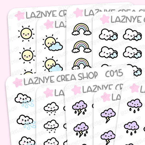 Planner Weather Icon Stickers, Sun Stickers, Cloud Stickers, Rainbow, Functional Stickers, Planner Stickers, Bullet Journal Stickers, Hand Draw Stickers