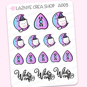 Witchcraft Cat Stickers, Spooky, Halloween, Moon Phase, Moon Child, Pastel Goth, Pastel Stickers, Functional Stickers, Planner Stickers, Bullet Journal Stickers, Hand Draw Stickers, Doodle Stickers