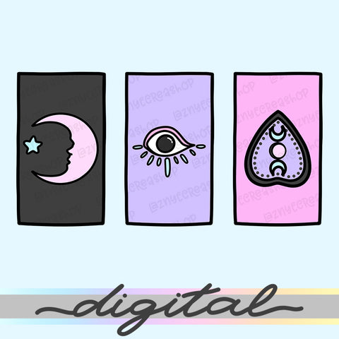 Printable Planner Witches Deck Cards Diecut, Ouija, Spooky, Halloween, Moon Phase, Moon Child, Pastel Goth, Cute Diecut, Kawaii Diecut, Doodle Planner Diecut, Kawaii Doodle