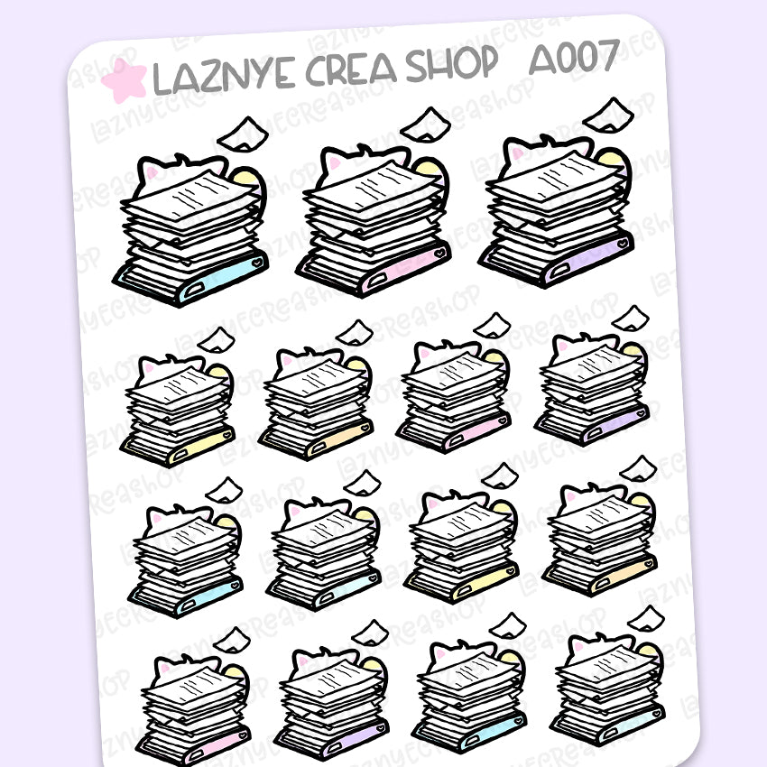 Working Cat Stickers, Work Stickers, Busy Stickers, Pastel Stickers, Functional Stickers, Planner Stickers, Bullet Journal Stickers, Hand Draw Stickers, Doodle Stickers