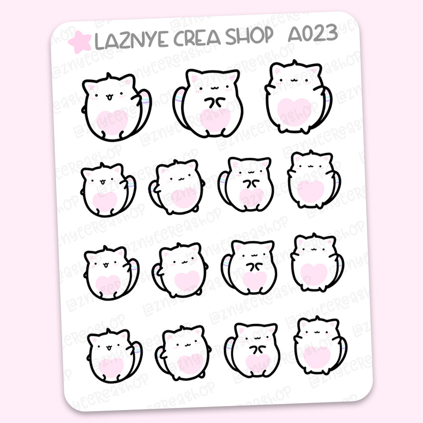 Yume the Cat Stickers, Cute Planner Stickers, Pastel Stickers, Planner Stickers, Bullet Journal Stickers, Hand Draw Stickers, Doodle Stickers
