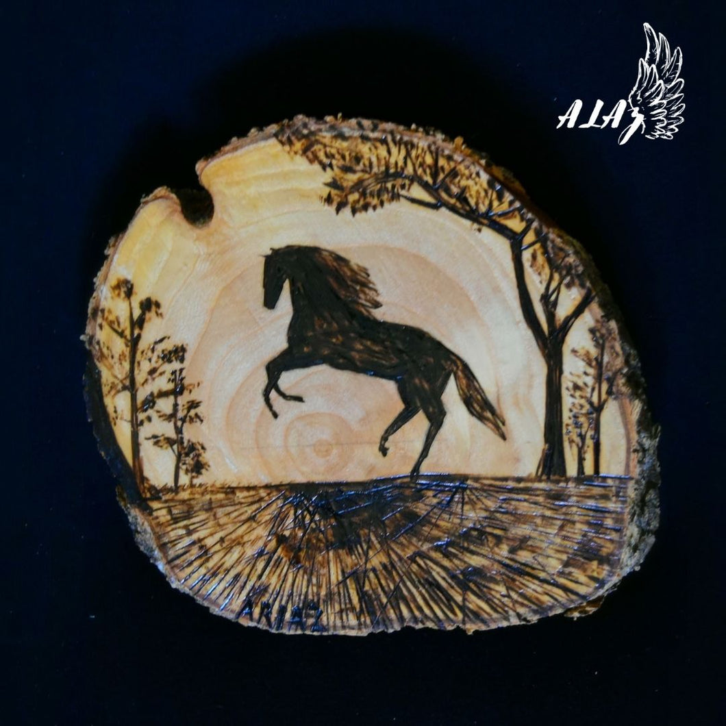 Azabache Horse Pyrography artwork by Mateo Ariaz