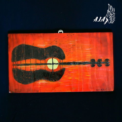Guitar Silhouette Sunset Acrylic painting and Pyrography artwork by Nancy Alvarez and Mateo Ariaz