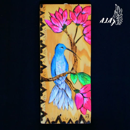 Happy Hummingbird Acrylic painting and Pyrography artwork by Nancy Alvarez