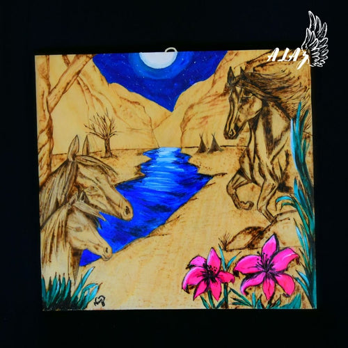 Horses at dusk Acrylic painting and Pyrography artwork by Nancy Alvarez and Mateo Ariaz