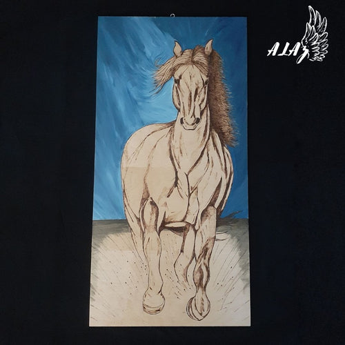 Majestic Horse Acrylic painting and Pyrography artwork by Nancy Alvarez and Mateo Ariaz