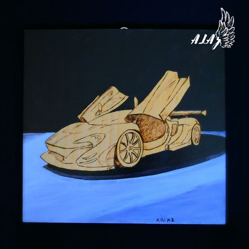 McLaren P1 Acrylic painting and Pyrography artwork by Nancy Alvarez and Mateo Ariaz