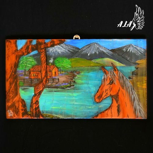 My perfect place Acrylic painting and Pyrography artwork