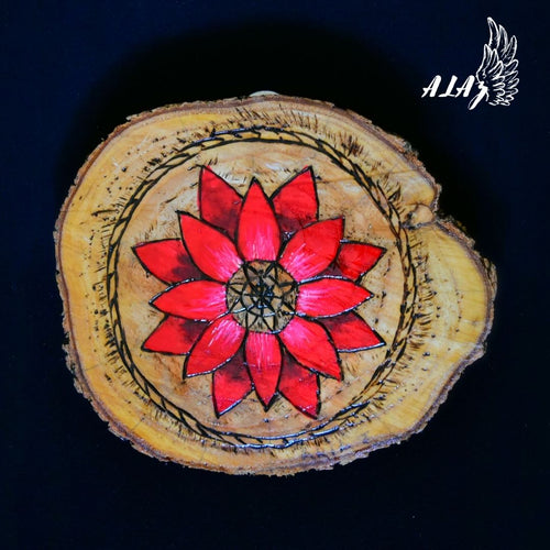 Red Flower Acrylic painting and Pyrography artwork by Nancy Alvarez and Mateo Ariaz