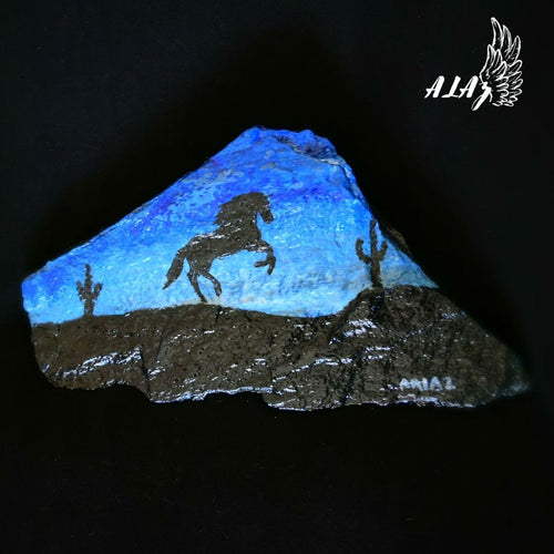 Horse in the Blue Desert Acrylic painting artwork by Mateo Ariaz