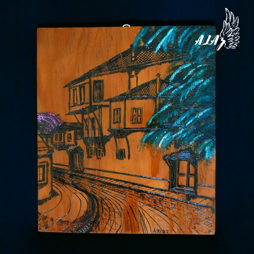 The street of dreams Acrylic painting and Pyrography artwork