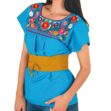 Load image into Gallery viewer, Blusa Bordada TM-77525 Blue Embroidered Blouse