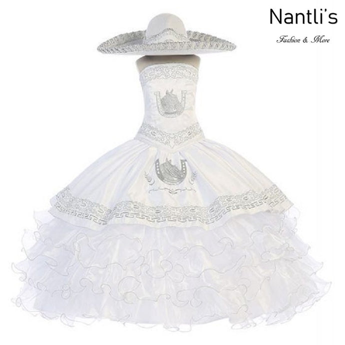 Traje Charro de Niña TM76220 White-Silver - Charro Suit for Girls