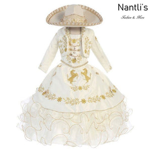 Traje Charro de Niña TM76221 Beige-Gold - Charro Suit for Girls