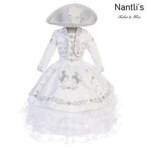 Traje Charro de Niña TM76221 White-Silver - Charro Suit for Girls