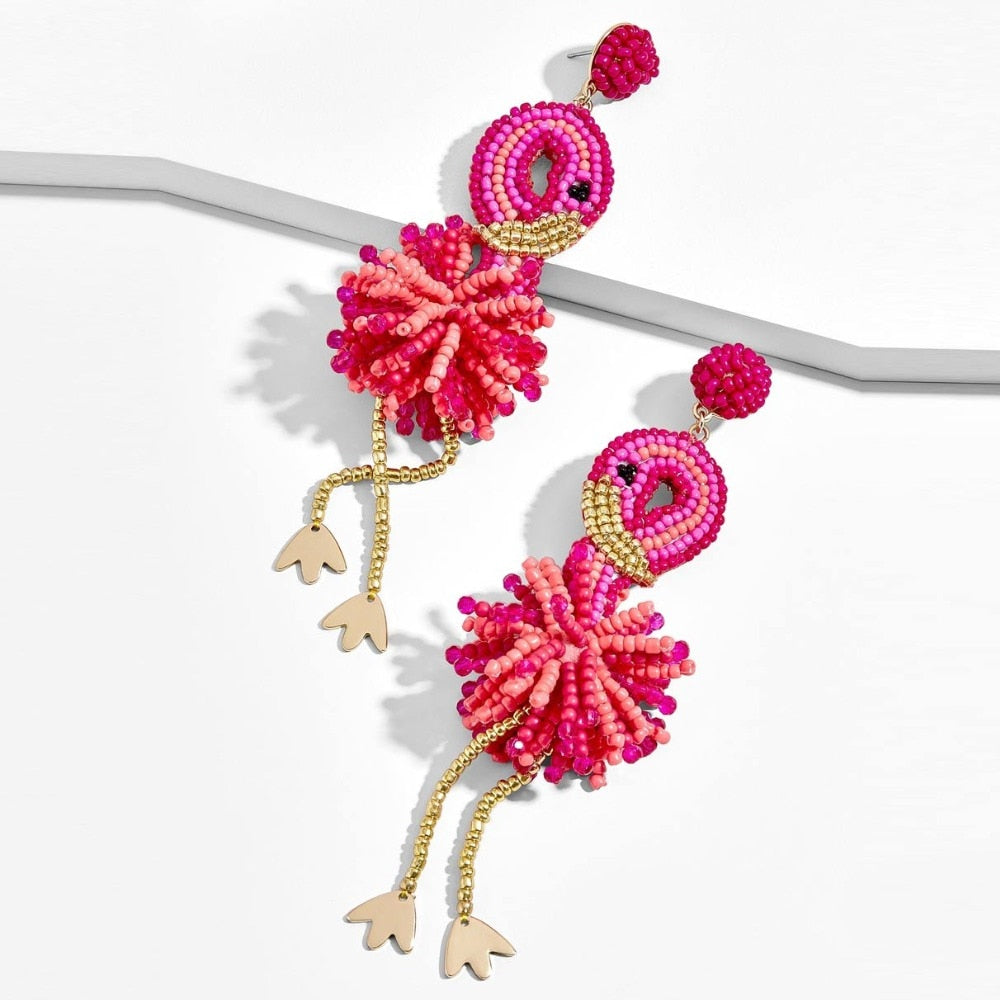 Dancing Beaded Flamingo Drop Moving Earrings