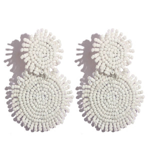 Lola Beaded Round Drop Earrings