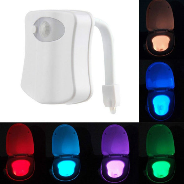 Sensor Toilet Light LED Lamp Human Motion Activated 8 Colours Automatic Night Lighting
