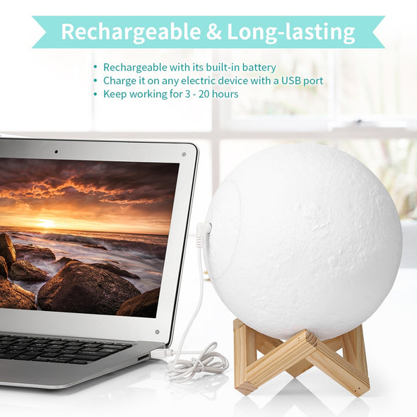 UE3D008 Rechargeable Touch Switch 3D Print Moon Lamp Decor Gift