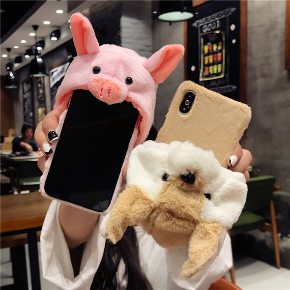 KISSCASE Christmas Hat Phone Case For iPhone 7 6 6s Case Lazy Rabbit Fluffy Case For iPhone X 8plus iPhone 7 7 Plus Fundas Cover
